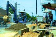 Berpotensi Molor, Proyek Trotoar Kota Rembang Dikebut